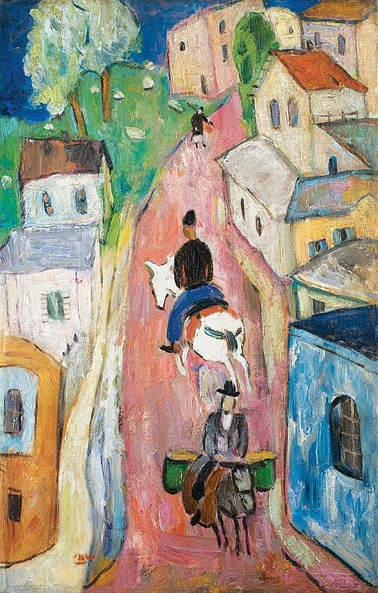 Menahem Shemi 1897-1951 (Israeli) Riders in Safed signed lower left