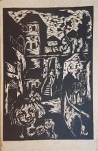Miron Sima 1902-1999 (Israeli) The town, 1953 woodcut