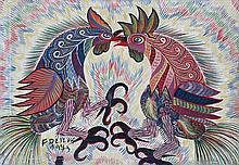 Francisco (Chico) Domingos da Silva 1910-1985 (Brazilian) Rooster fight, 1973 oil on canvas