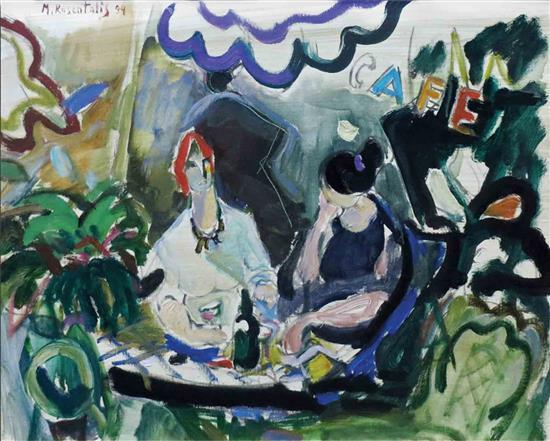 **Moshe Rosenthalis 1922- 2008 (Lithuanian) Two women in cafe, 1994 oil on canvas