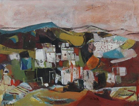 **Ruth Schloss 1922-2013 (Israeli) Landscape oil on masonite