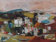 **Ruth Schloss 1922-2013 (Israeli) Landscape oil on masonite