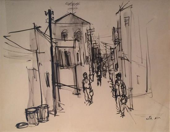 Ruth Schloss 1922-2013 (Israeli) Street scene india ink on paper