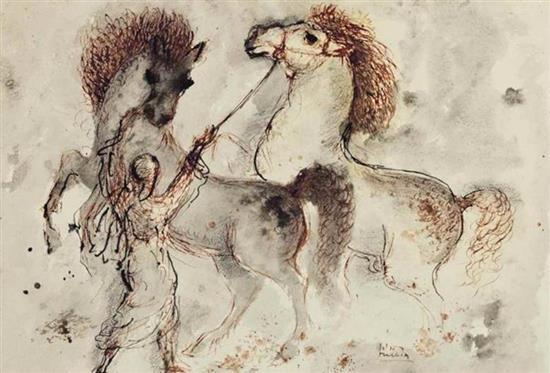 **Reuven Rubin 1893-1974 (Israeli) Arabian horses ink, wash, charcoal and brown ink on paper