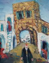 Yitzhak Frenkel Frenel 1899-1981 (Israeli) Safed landscape, 1950's oil on canvasboard