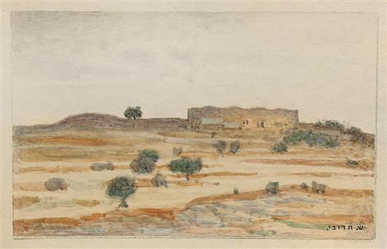 Shmuel Charuvi 1897-1965 (Israeli) Landscape in the Judean Hills watercolor on paper