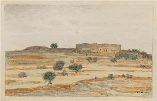 Shmuel Charuvi 1897-1965 (Israeli) Landscape in the Judean Hills watercolor on paper