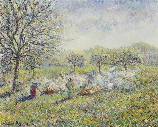 **Hugues Claude Pissarro b.1935 (French) Grass-burning, study oil on canvas