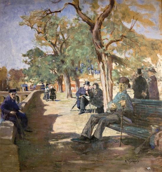 **Adolphe Ernest Gumery 1861-1943 (French) Double sided painting, Promenade by river (verso); People praying by the wailing wall, Jeru.