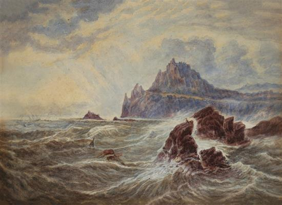 George Chamier 1842-1915 (New Zealander) Landscape, 1860's two watercolors on paper