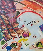 Michael Druks b.1940 (Israeli) Palm tree trunk and abstract shapes, 1988 oil and mixed media on paper