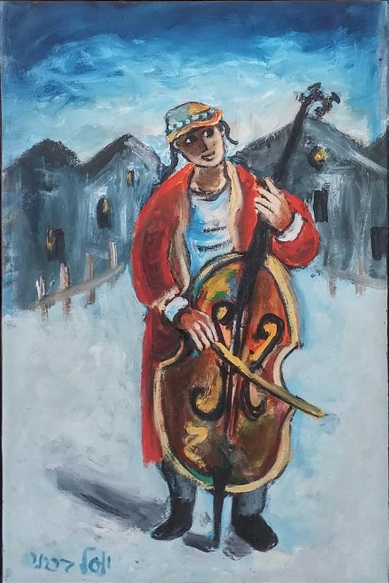 Yosl Bergner b.1920 (Israeli) Violoncellist oil on paper mounted on canvas