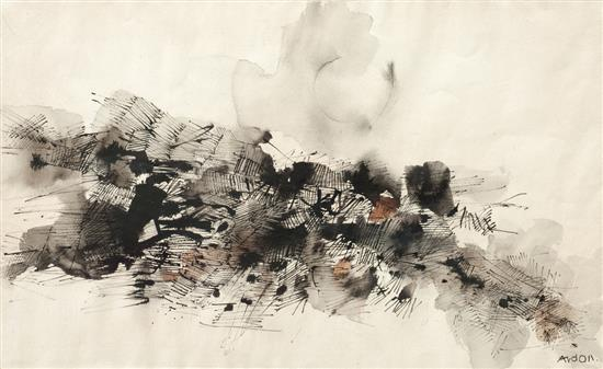Mordechai Ardon 1896-1992 (Israeli) Untitled ink and watercolor on paper