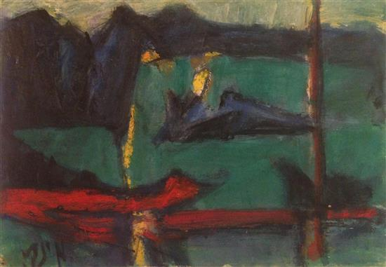 Marcel Janco 1895-1984 (Israeli) Landscape oil on cardboard