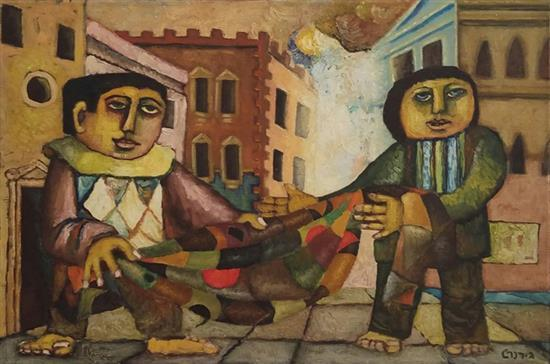 Gershon Rennert 1929-2009 (Israeli) Clowns oil on canvas