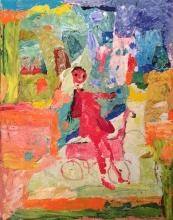 Richard Bilan b. 1946 (French, Israeli) Girl on a bicycle acrylic on canvas
