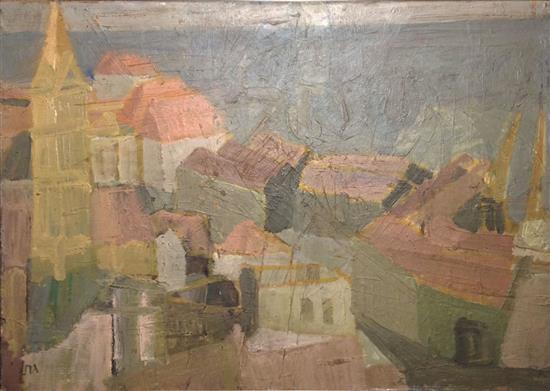Eliyahu Gat 1919-1987 (Israeli) Jaffa landscape oil on cardbaord