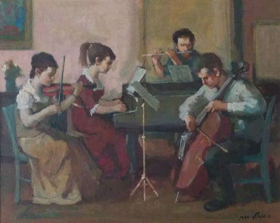 Ed Adler 1917-1984 Quartet oil on canvas