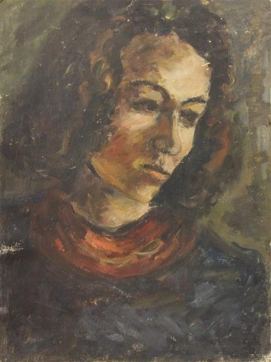 David Lan Bar 1912-1987 (Ukrainian, Israeli) Portrait of woman, 1943 oil on paper mounted on cardboard