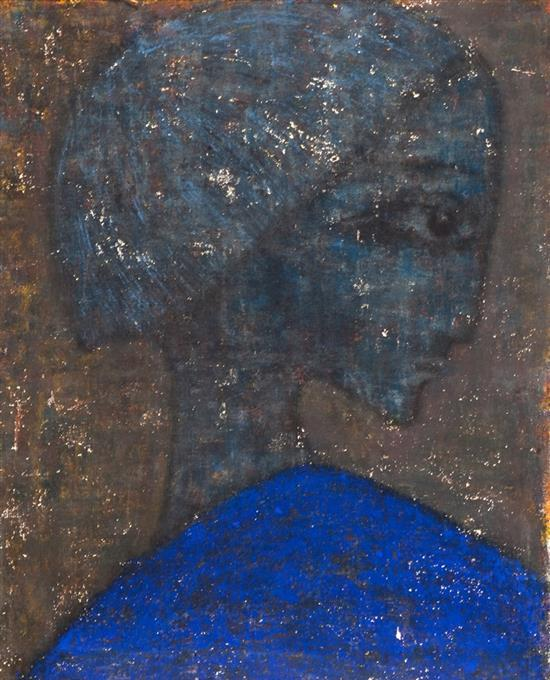 **Bela Brizel 1929-1983 (Israeli) Untitled, 1949 - damaged oil on canvas