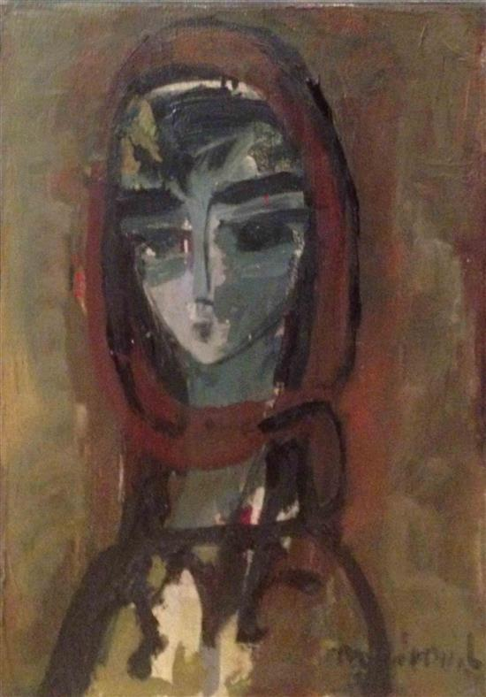 Zvi Mairovitch 1911-1974 (Israeli) The artist's wife oil on canvas