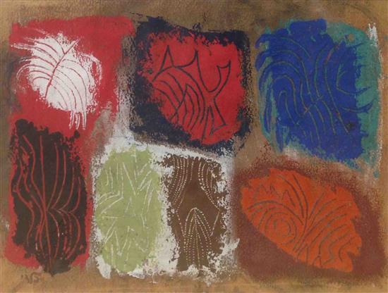 Israel Paldi 1892-1979 (Israeli) Abstract shapes acrylic on paper