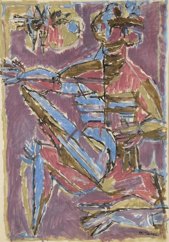 **Moshe Tamir 1924-2004 (Israeli) The musician oil on paper