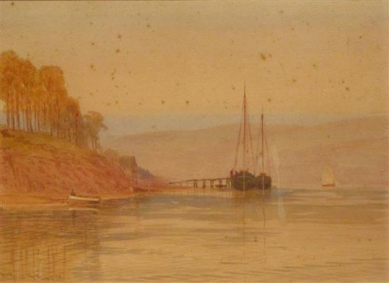Arthur Henry Enock 1869-1910 (British) Evening in the west country watercolor on paper