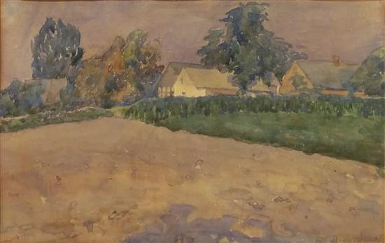 Unidentified German/ Polish artist Early 20th c. Landscape, 1917 watercolor on paper