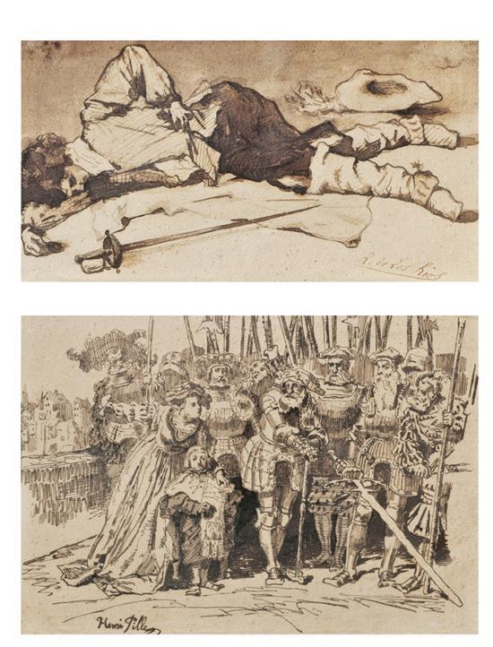 Henri Pille 1844-1897 (French) and Ricardo de los Rios 1846-1929 (Spanish) Dead soldier, c.1890; Royal boy, c.1890 ink and wash on p...