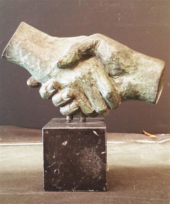 Unknown artist Handshake bronze with green patina