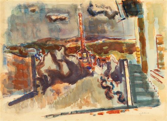 Avigdor Stematsky 1908-1989 (Israeli) Urban landscape, 1940's watercolor on paper
