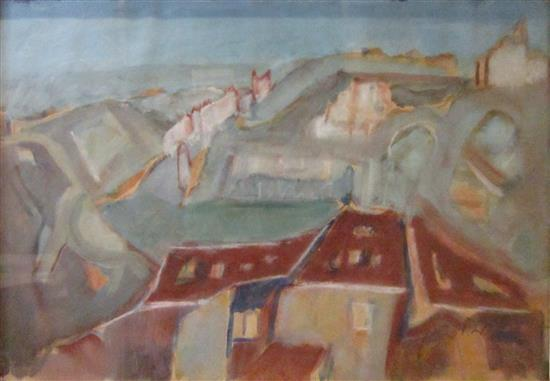 Mordechai Levanon 1901-1968 (Israeli) Landscape gouache on paper