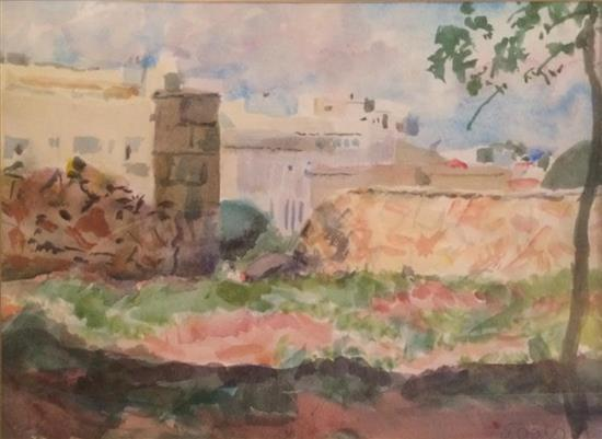 Edmound Furst 1955 -1874 (German, Israeli) Migdal David watercolor on paper