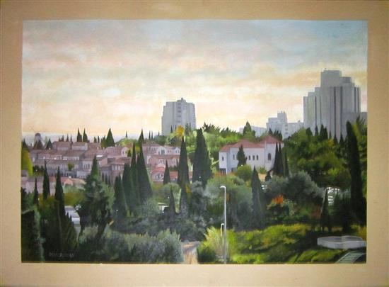 Itzhak Pressburger b.1933 (Israeli) Jerusalem landscape gouache on paper