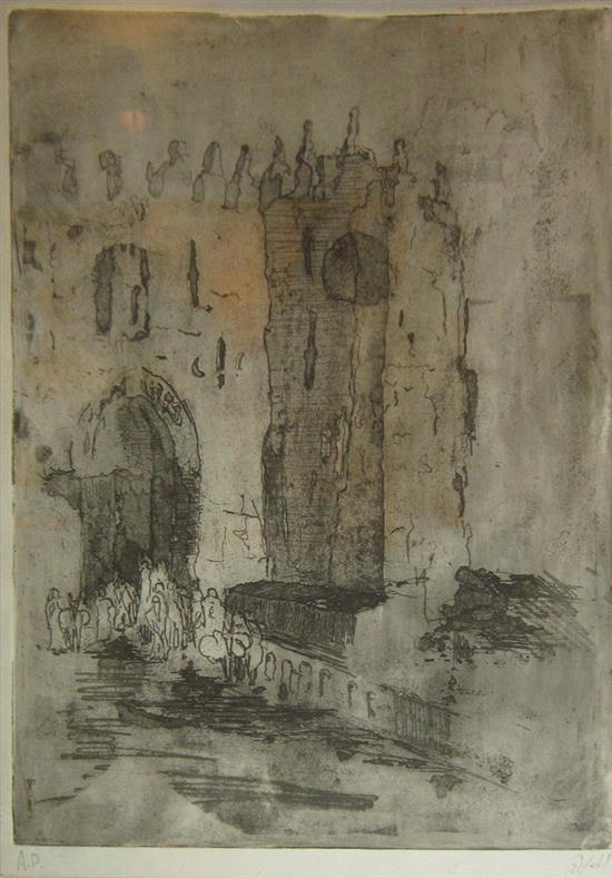 Unidentified artist Jaffa gate etching and aquatint on paper