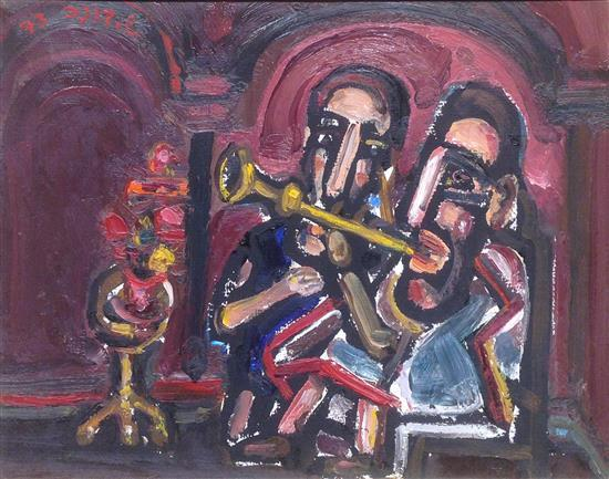 Shmuel Boneh 1930-1999 (Israeli) Klezmers, 1973 oil on canvas