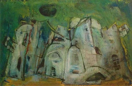 Judith Har-Even b.1926 (Israeli) Urban landscape oil on canvas