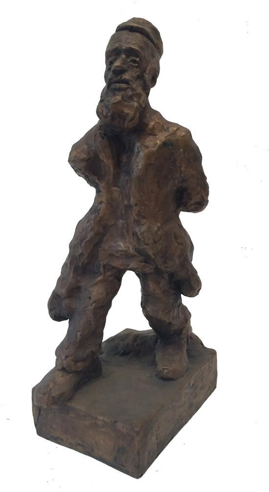 After Manי Katz 1894-1962 (Ukrainian, French) Tevye bronze