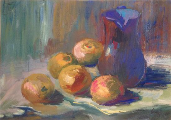 Zeev Kun b.1930 (Hungarian, Israeli) Still life with apples oil on cardboard