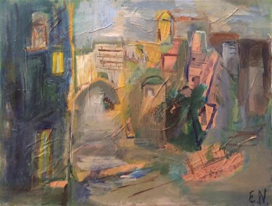 Ester Namir (Israeli) Urban landscape oil and collage on canvas