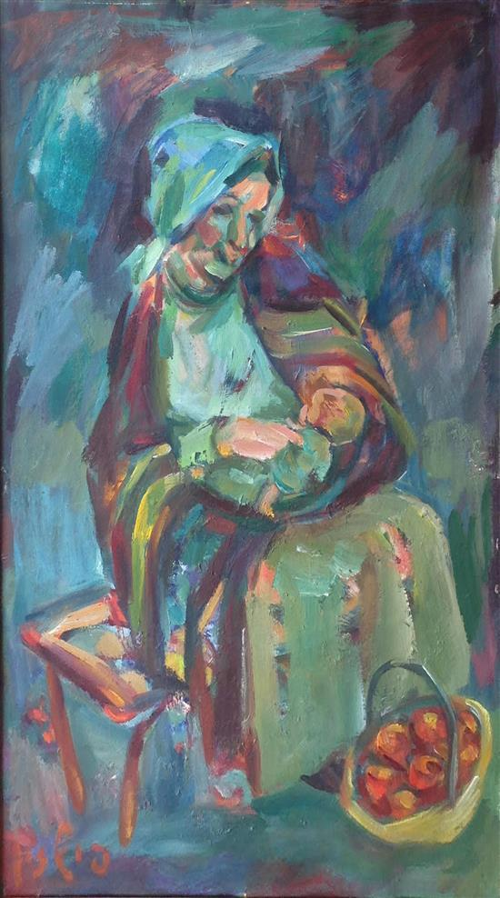 Moshe Fishzon 1912-1987 (Israeli) Apple seller oil on canvas