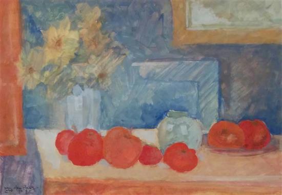 Shlomo Van Den Berg 1920-1982 (Israeli) Still life with apples watercolor on paper