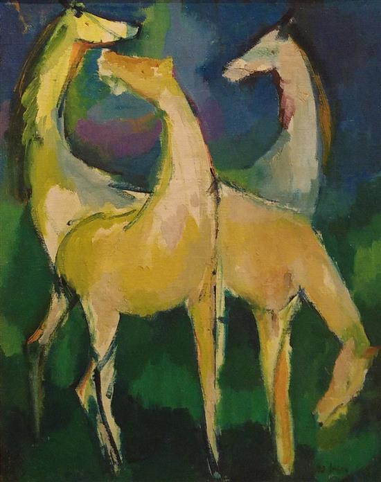 Aryeh Rotman 1921-2006 (Israeli) Horses, 1998 oil on masonite