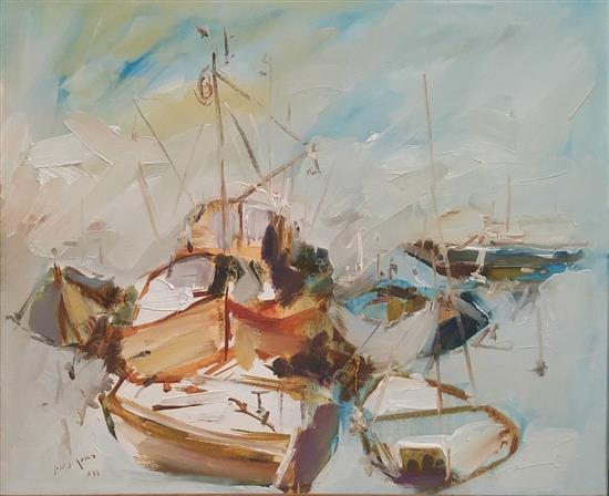 Reuven Nachum 20th century Boats, 1977 oil on masonite