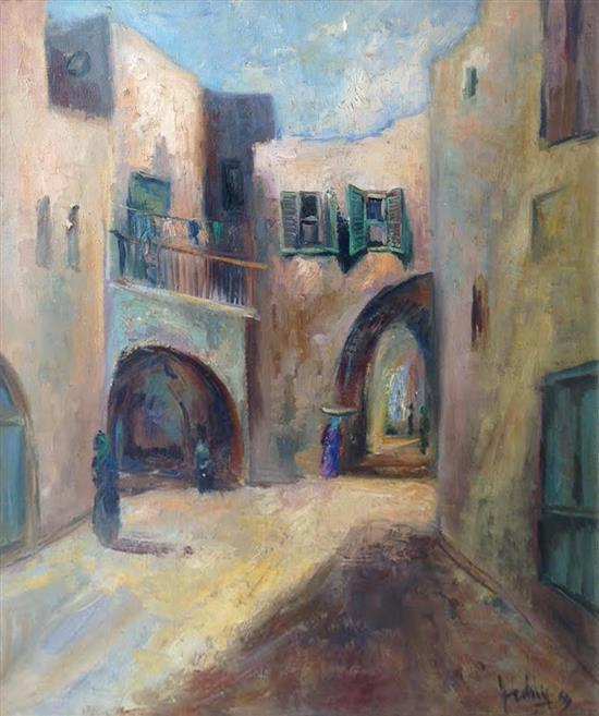 Zeev Kun b.1930 (Hungarian, Israeli) Jaffa oil on canvas