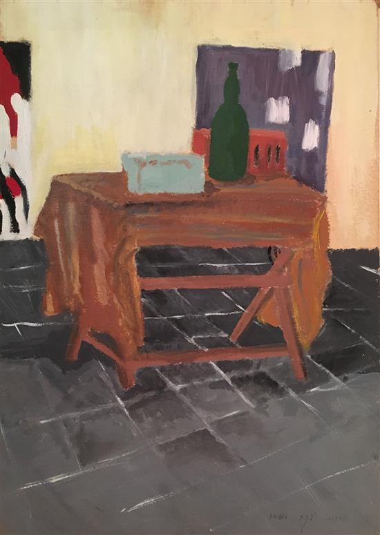 Yehudit Yaacov Still life on table, 1981 oil on cardboard