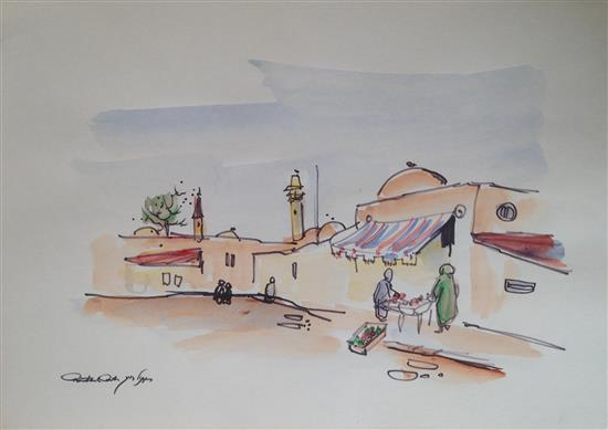 Chaim Rosenthal b.1938 (Israeli) Jaffa felt tip and watercolor on paper