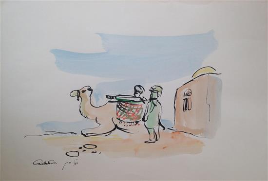 Chaim Rosenthal b.1938 (Israeli) Camel and two figures in the desert felt tip and watercolor on paper