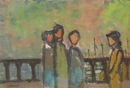 Gershon Rennert 1929-2009 (Israeli) Figures in the port watercolor on paper